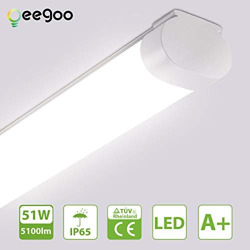 Oeegoo LED Feuchtraumleuchte 150CM, Deckenleuchte led 51W 5100LM (100LM/W), IP65 Wasserdicht Wannenleuchte Röhre Werkstattlampe Nassraumleuchte Feuchtraumlampe Garagenlampe, 4000K