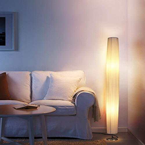 Albrillo Lámpara de Pie Moderna 120 cm - Lámpara de Tela Blanca con 2 Luces E27 de Max. 60W, Interruptor de Pie y Base de Acero Inoxidable, Bombillas Excluidas, para Sala de Estar, Rectangular