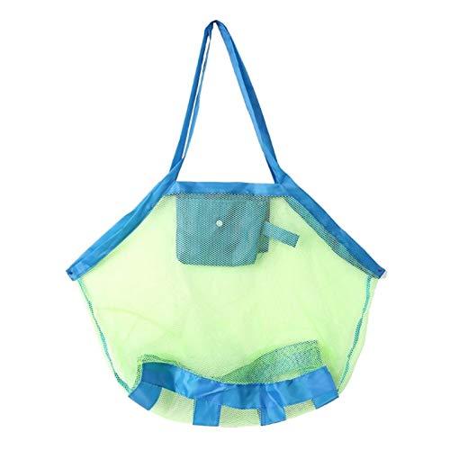 Mcttui Jouet Stockage Organisateurs Sac Enfants Beach Mesh Jouets Sac de Rangement Enfants Pliant Sable De Sablage Net Tote Outdoor (Color : Blue)