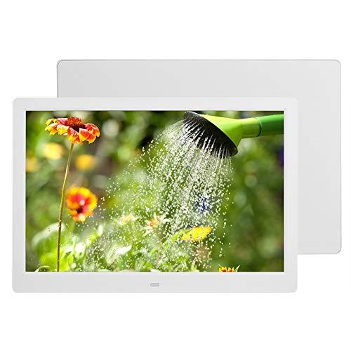 VBESTLIFE Digitaler Fotorahmen, 14-Zoll-elektronischer Bilderrahmen 1280 * 800 (16: 9) HD-Breitbild, HD-Videorahmen mit WiFi-Fernbedienung, unterstützende Uhr/Kalender/JPG/JPEG/AV/MPG / MP4(weiß)