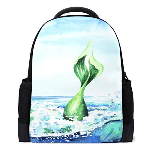 Vdsrup Mermaid Tail Diving Backpack Watercolor Sea Wave Bookbag Laptop Book Bag Casual Water Resistant Day Pack Travel Sports Daypack for Men Women