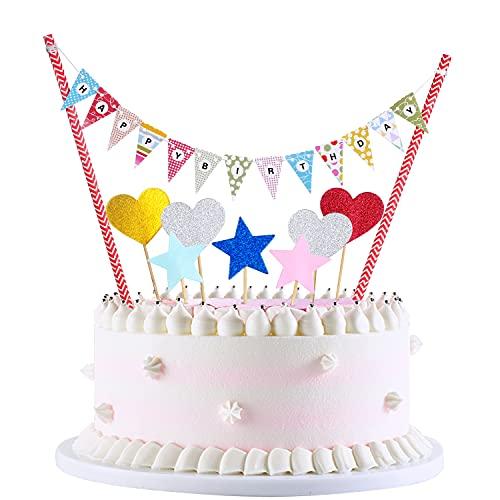 Crazy-M Happy Birthday, ghirlanda per torte, ghirlanda arcobaleno, ghirlande per torte, ghirlande di compleanno, topper per torta per bambine, per feste e battesimi