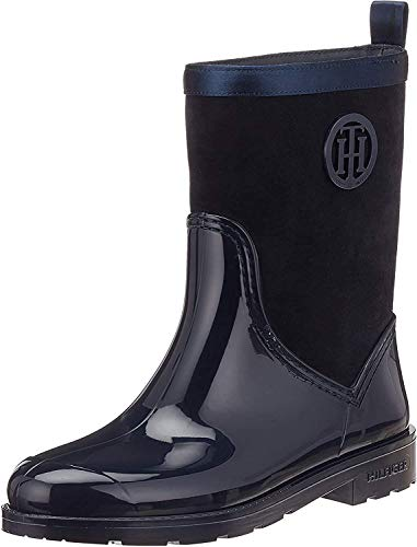 Tommy Hilfiger Damen Warmlined Suede RAIN Boot Gummistiefel, Blau (Midnight 403), 39 EU
