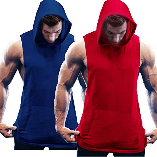 COOFANDY Herren Tank Top Ärmelloser Workout Sport Fitness Hoodie Muskelshirt für Gym Training 2er Pack Mix Rot/Blau XXL
