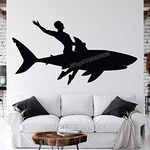 ZZLLL Tiburón Surf Palm Regalo mar Pared calcomanía Windsurf niño Surf Pegatina de Pared Tabla de Surf Ola calcomanía Vinilo decoración de Dormitorio 80x42cm