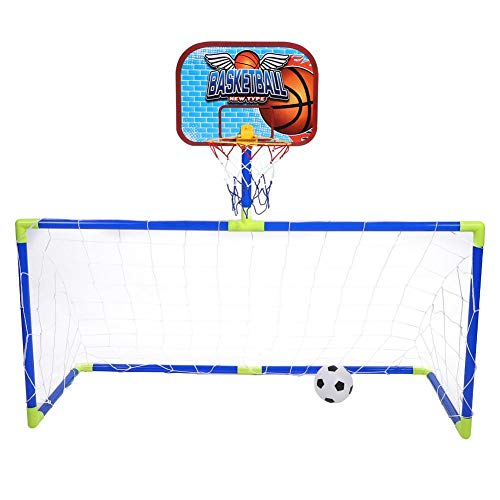 Liukouu Basketball Return Net Guard and Basketball Hoop, Backboard Football Guard Balls Kit for Yard & Residential Use, Mini Basketball Soccer System