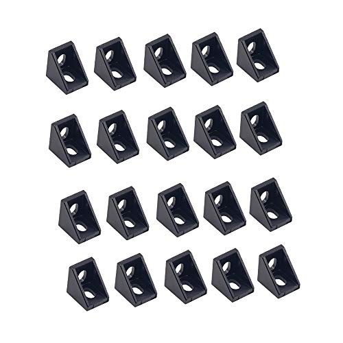 20PCS Black Aluminum 2 Holes 2020 Corner Bracket Right Angle 20x20x17mm L Connector for AM8 3D Printer BLV MGN Cube 3D Printer 20 Series Aluminum Extrusions Profiles Frame with 6mm Slot (Black)