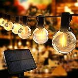 Guirnaldas Luces Exterior Solar, TOGAVE Cadena Luces con 10+1 G40 LED Bombillas IP44 Impermeable, 4 Modos de Luz Cadena de Luces Decorativas para Jardín, Terraza, Navidad, Fiesta - Blanco Cálido