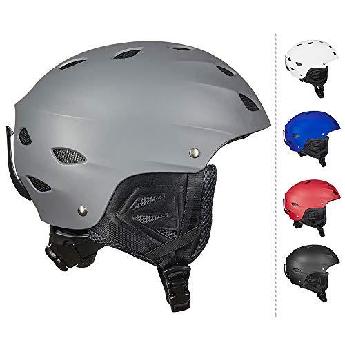 ILM Ski Helmet Snowboard Snow Sports Sled Outdoor Recreation Gear (Gray, L)
