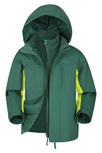 Mountain Warehouse Wasserfeste Cannonball Kinder-3-in-1-Jacke - atmungsaktive Dreiklima Winterjacke mit versiegelten Nähten und Abnehmbarer Kapuze. Khaki 11-12 Jahre