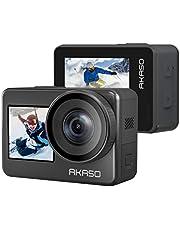 AKASO Brave7 アクションカメラ IPX8本機防水10M 水中カメラ 4K/20MP ウェアラブルカメラ 6軸手ぶれ補正 スポーツカメラ WiFi アクションカム 可視化リモコン付き 音声制御機能/外部マイク対応/1350mAhバッテリー2個