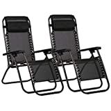 Havnyt Zero Gravity Reclining Chairs Garden Sun Loungers Black SET OF 2