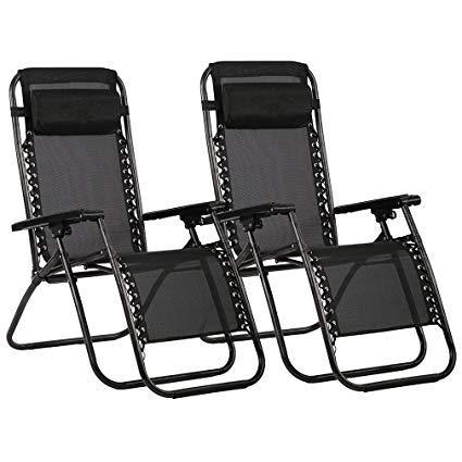 Havnyt Zero Gravity Reclining Chairs Garden Sun Loungers Black SET OF 2
