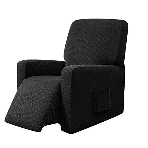 E EBETA Sessel-Überwürfe Sesselschoner, Stretchhusse für Relaxsessel Komplett, Schutzhülle aus elastischem Sessel Ohrensessel (Schwarz)