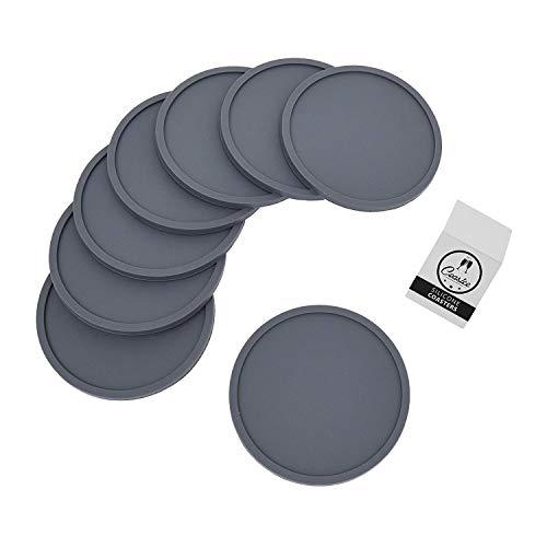 Coastee Silikon-Untersetzer - 8 Stück, dunkelgrau, Glasuntersetzer-Set für Bar, Wohnzimmer, Küche