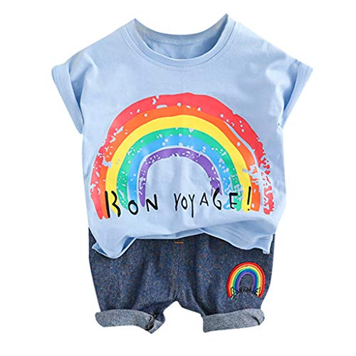 Alwayswin Unisex-Baby Sommer Babykleidung Jungen Mädchen Regenbogen Streifen Weste Tops + Shorts Outfits Set Kleinkind Mode Bequem Baby-Outfits Freizeit Süß Cool Baumwolle Outfits