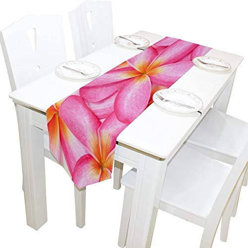 For rustic Table Runner Home Decor, Stylish Pink Hawaiian Plumeria Flower Table Cloth Runner Coffee Mat for Wedding Party Banquet Decoration 13 x 70 inches-13x70