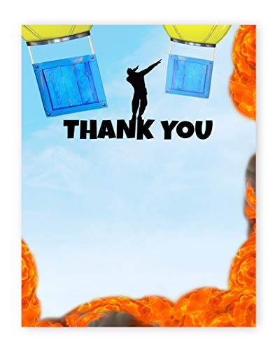 POP parties Battle Gaming Thank You Cards - 20 Cards + 20 Envelopes - Gaming Party Thank You Cards - Battle B