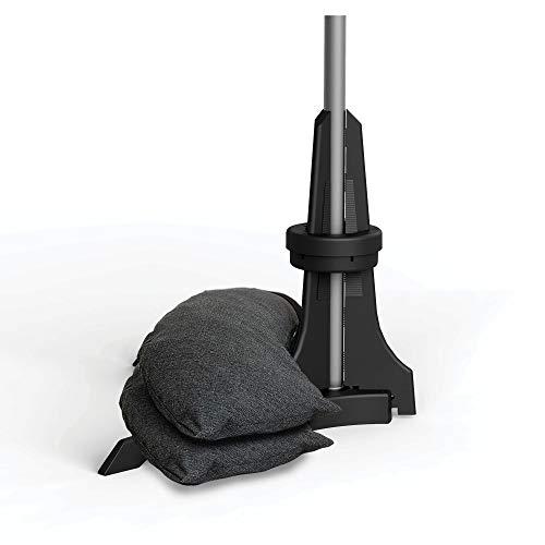 Baser Sonnenschirmständer für Balkon Wand mit befüllbarem Sandsack am Balkongeländer, Alternativ Sonnenschirm Balkonhalterung oder befestigung ohne bohren, für kleine sonnenschirme (50 KG, Dunkelgrau)