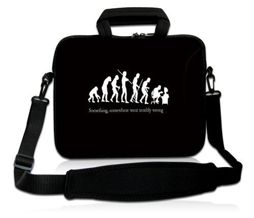 Luxburg® Design Laptoptasche Notebooktasche Sleeve mit Schultergurt & Fach für 17,3 Zoll, Motiv: Nerd Evolution
