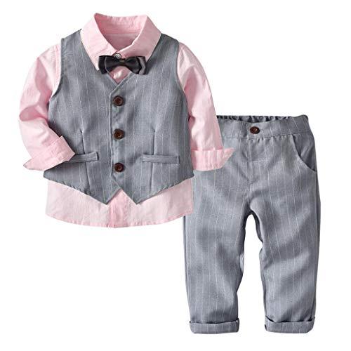 K-youth Conjunto de Cuatro Piezas para Bebé Niño 1-4 Años Ropa Niño y Niña Gentleman Camisa de Manga Larga Bowtie + Chaqueta + Pantalones Traje de Bautizo Fiesta Boda Ceremonia