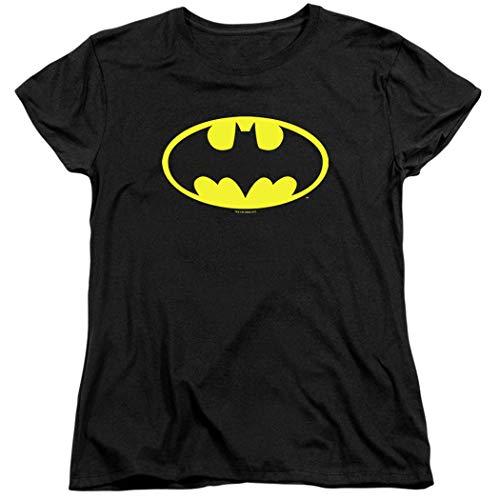 Womens Batman Classic Logo T Shirt for & Stickers (X-Large) Black