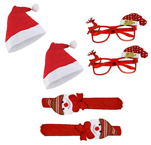 KRIWIN 2pcs Each Christmas Cap, Band & Goggles Accessories for Kids, Party, Decoration, Festival Fun (Mix Items)