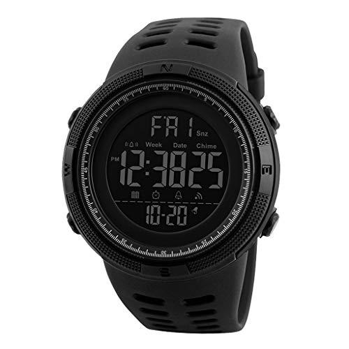 gazechimp Relógio Esportivo Masculino 1251 Cronômetro De Contagem Regressiva à Prova D'água Relógio Militar - Preto