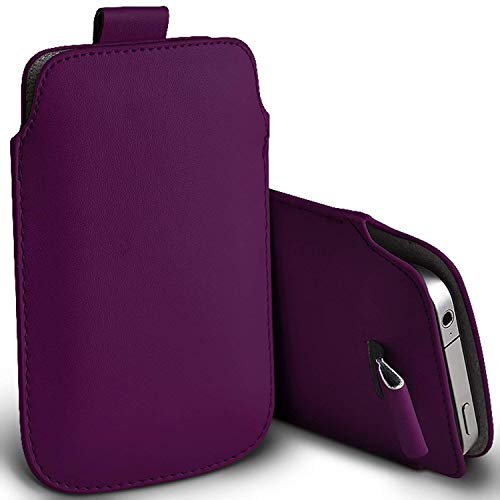 I-Sonite (Dark Purple) Premium Slip In Pull Tab Sleeve Faux Leather Pouch Case Cover For Motorola Moto E5 Play [XXL]