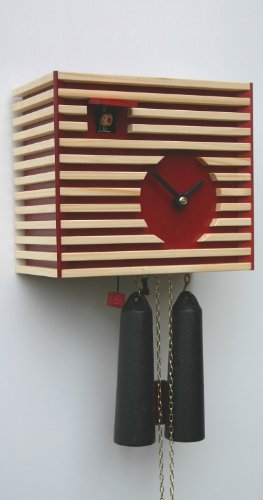 Rombach & Haas Moderne Kuckucksuhr Klassik im Raum rot 8-Tagewerk 20 cm