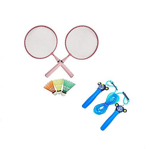 Gmefvr Kid's Steel Badminton Racket and 3 Shuttle Skipping Rope Combo (Multicolour)