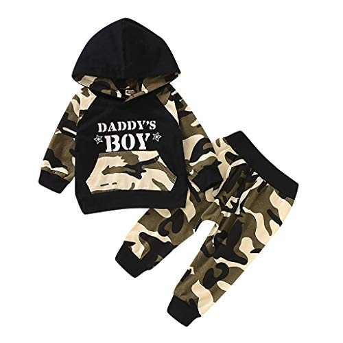 Shimigy Newborn Infant Baby Boy Letter Hoodie T Shirt Tops+ Camouflage Pants Outfits Set