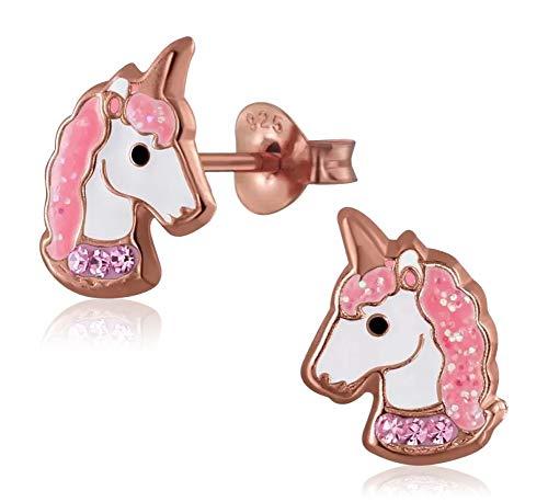 Laimons - Orecchini per bambine e ragazze, a forma di unicorno, 11 x 8 mm, rosa con glitter, in argento Sterling 925 placcato oro