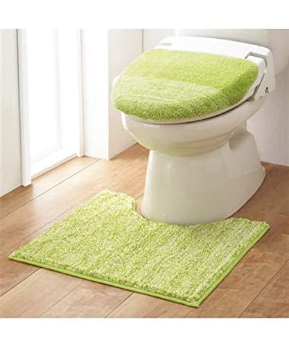 [nissen(ニッセン)] トイレマット・タンクカバー 洗濯機洗いOK ふかふかのミックスシャギートイレタリー2点セット グリーン ロングマット/洗浄・暖房型用 マタニティ