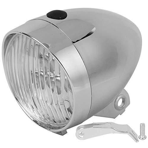 VGEBY Vintage-Fahrrad-Vorderlicht, 3 LEDs, Frontlicht für Fahrrad, Vintage-Scheinwerfer, Zubehör für Radfahren, feste Schaltung, Silber