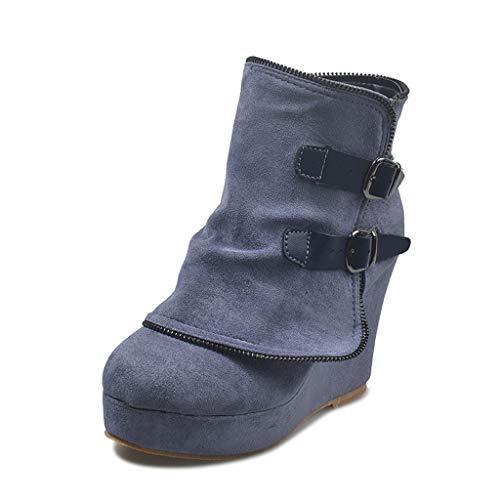 Botines Elegantes de Tacón y Hebilla Decorativa Mujer Otoño Invierno Calentar Piel Forro Botines Retro Cordones Mujer Botas Zapatos de Plataforma
