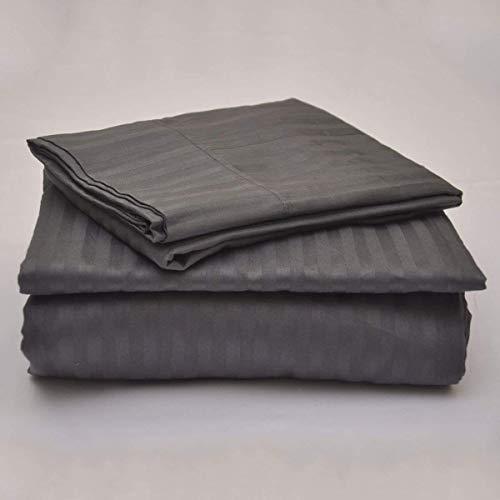 Tula Linen 1000 Hilos 4 Piezas Juego de sábanas (Gris Oscuro Rayas, Unido Doble Unido King Size150 X 200 cm (5 ft x 6 ft 6 in), tamaño de Bolsillo 44 cm) 100% algodón Egipcio Premium Calidad