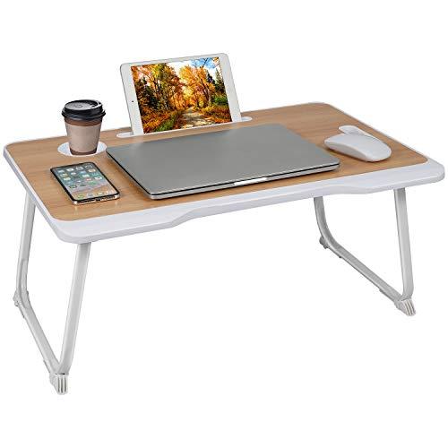 Bandeja de cama para ordenador portátil, soporte plegable con soporte para tazas, oficina en casa, mesa ligera para comer, trabajar, escribir, jugar, dibujar (marrón)