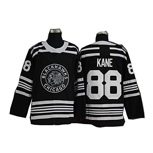 Yajun Patrick Kane#88 Chicago Blackhawks Eishockey Trikots Jersey NHL Herren Sweatshirts Atmungsaktiv T-Shirt Bekleidung,Black,L
