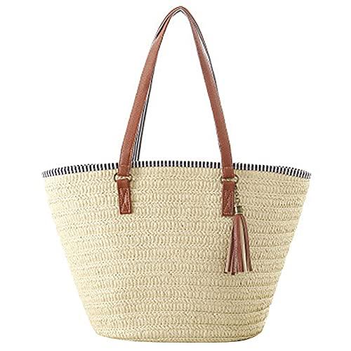 Borsa da spiaggia estiva della spiaggia, borse da spiaggia di paglia Borsa a tracolla tessuta grande capacità, elegante borsa di stoccaggio per ragazze classiche per lo shopping, datazione, in viaggio