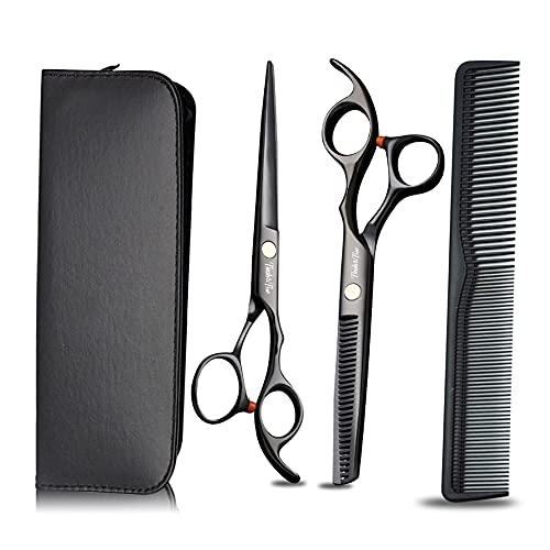 STST Tijeras de peluquería Profesionales Tijeras de peluquería de Acero Inoxidable de 6.0 Pulgadas y Tijeras de Adelgazamiento, para salón, peluquería o Uso doméstico