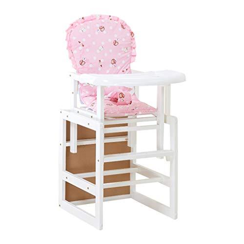 en Bois Multifonctionnel Chaise de bébé | Chaise de Salle à Manger pour bébé Hauteur Ajustable | Portable Pliable Chaise Haute pour bébé avec Ceinture et Coussin
