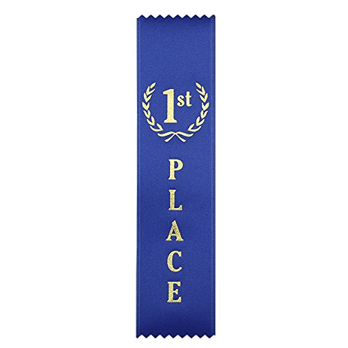 1st Place (Blue) Quality Award Ribbons - 50 Count Metallic Gold foil Print – Made in The USA