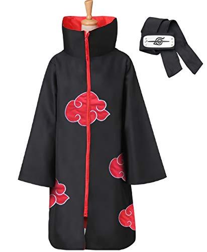 LCUYNUI Capa de Akatsuki, Disfraz de Cosplay de Anime, Capas de Capa de Halloween, Disfraz de Akatsuki, Capa de Cuello de Akatsuki (XL)