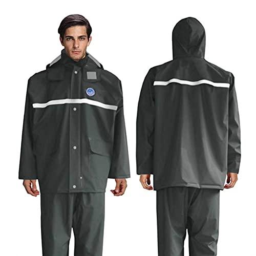 XHAEJ Reflective Raincoat Waterproof Jacket, Winter Thick Motorcycle Wear-Resistant Breathable Raincoat Outdoor Trousers Suit Male Female Adult Split Outdoor Raincoat Suit,A,XXXL