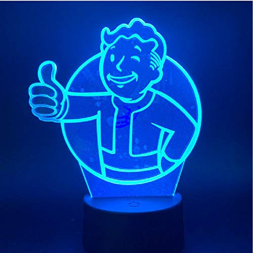 Juego 3D Fallout Shelter 3D Led Night Light Sensor Táctil Color Cambiante...