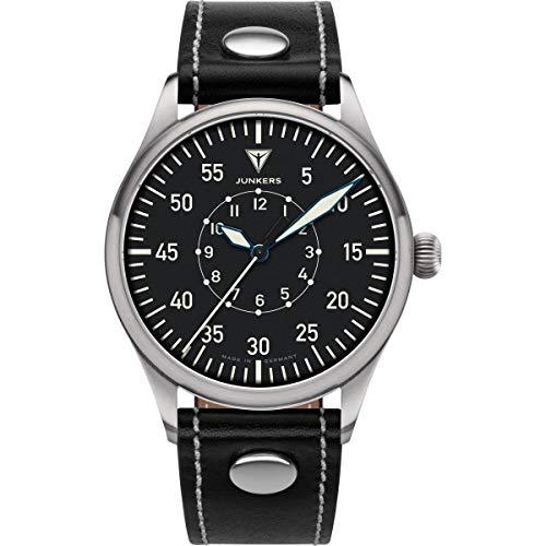Junkers Baumuster Analog Quarz Uhr Lederarmband Saphirglas schwarz 9.20.02.02