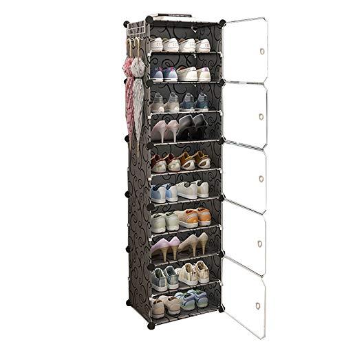 Zapatero Columnas 1 10 Nivel Plástico De Almacenamiento Extraíble Withdoor 20 Pares De Zapatos Dormitorio Sala De Estar Negro 44X32X158CM MUMUJIN