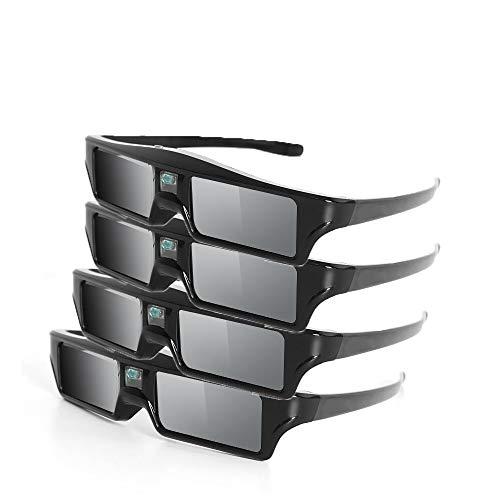 PUKEFNU 3D DLP Link Lentes Obturador Activo 3D Gafas, Gafas Recargable 144Hz para proyectores Full HD de Realidad Virtual Gafas de Cine en casa 3D alistan los vidrios de la película Película,4