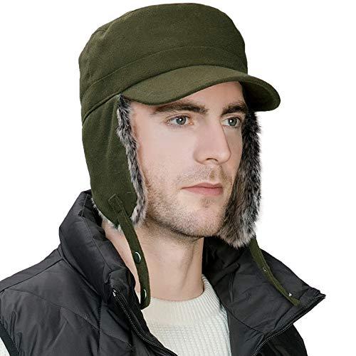 Fancet Fancet Herren warme Trapper Ohrenschutz Mütze Winter Earflap Mütze Armygrün M